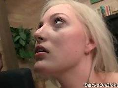 Jenna Ivory is jumping on one big black cock and blows another.